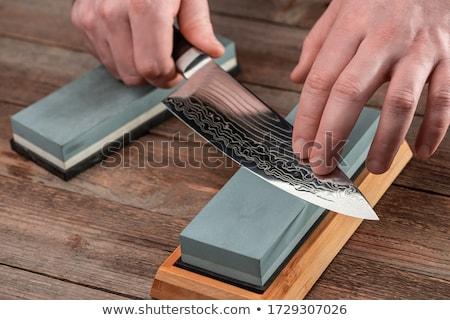 Mes puntenslijper witte hout metaal keuken Stockfoto © Pakhnyushchyy