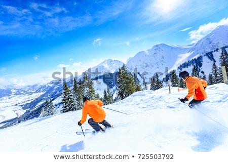 çift kayakçılık dağlar kadın mutlu çalıştırmak Stok fotoğraf © photography33