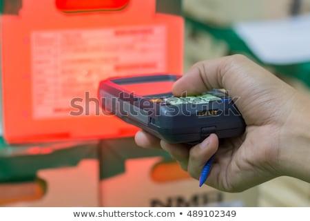 Ordinateur Barcode femme main technologie Shopping Photo stock © Hasenonkel