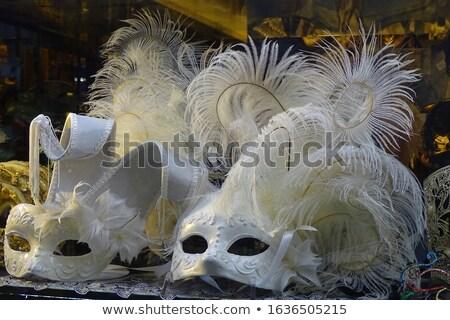 Feketefehér velencei maszk tollak fehér maszk tündér Stock fotó © tony4urban