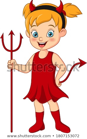 A cute woman holding the evil pitchfork. Stock photo © photography33