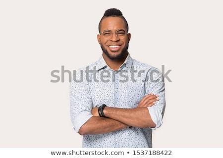 Siyah adam çekici yakışıklı mutlu moda Stok fotoğraf © piedmontphoto