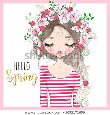 gyönyörű · nő · sziluett · levél - stock fotó © glyph