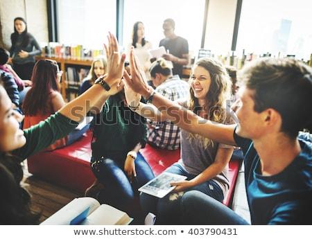 Öğrenciler · eğitim · oturma · çim · park · mutlu - stok fotoğraf © photography33