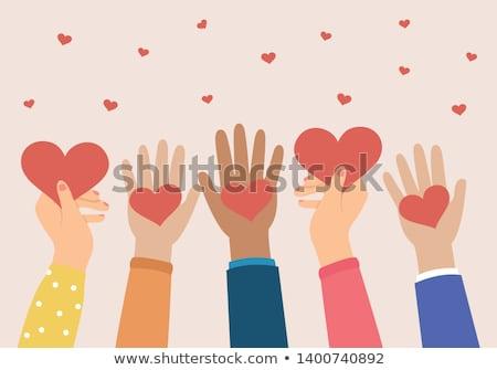 pessoa · manter · vermelho · coração · mão · vetor - foto stock © Hermione