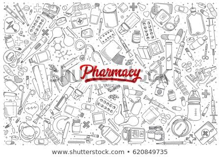 óvszer rajz szett egészségügy széf gyógyszer Stock fotó © Hermione