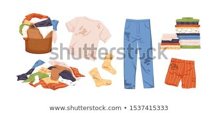 Foto stock: Sujo · roupa · tiro · saco · limpeza