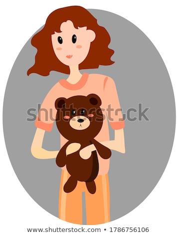 Genç kız uyku favori oyuncak oyuncak ayı kız Stok fotoğraf © balasoiu