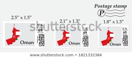Posta Omán kép bélyeg térkép zászló Stock fotó © perysty