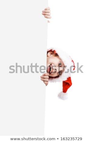 genç · çocuk · ayakta · arkasında · tahta · beyaz - stok fotoğraf © stockyimages