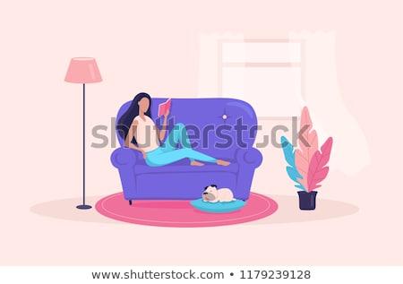 cute · illustré · fille · lecture · confortable · chambre - photo stock © re_bekka