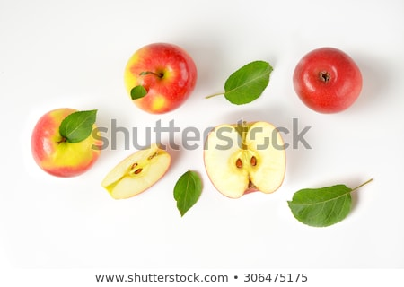 Stock photo: Yellow Apple with Apple Slice on the White Background