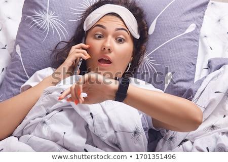 mulher · cama · falante · telefone · feliz · telefone - foto stock © photography33