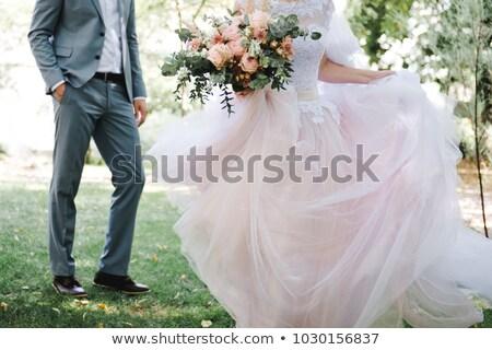 gyönyörű · menyasszony · tánc · zöld · fű · nő · lány - stock fotó © rosipro