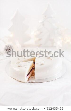 christmas · fruitcake · marsepein · witte · icing · kers - stockfoto © backyardproductions