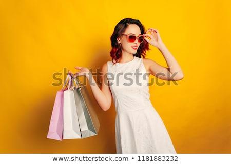 gyönyörű · vörös · hajú · nő · bevásárlótáskák · fotó · visel · ruha - stock fotó © massonforstock