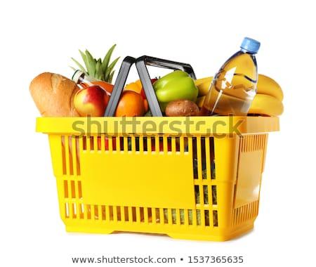 Citromsárga kosár fotó bevásárlókosár tele friss gyümölcs Stock fotó © stevemc