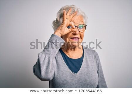 Idős ujj ok arc férfiak portré Stock fotó © Paha_L