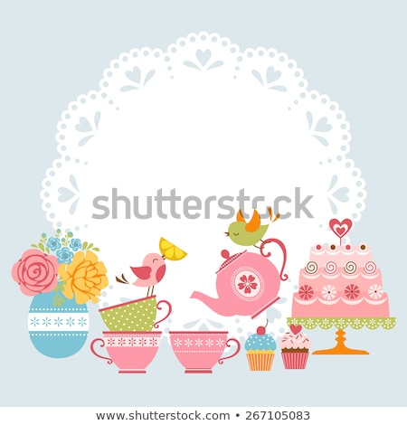 Tea Party Invitation Vector Illustration  Karola Kallai Kariiika