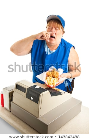 Fast Food Worker Sneezing on Meal Stock photo © lisafx
