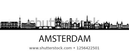 ストックフォト: アムステルダム · スカイライン · オランダ語 · フラグ · オランダ · 花