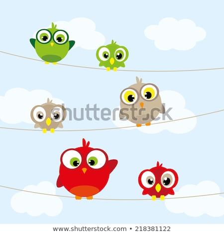 Stockfoto: Vogels · draad · blauwe · hemel · vector · opslaan · datum