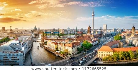 Berlin sziluett városkép 2013 tető kilátás Stock fotó © searagen