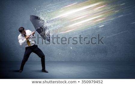 Сток-фото: бизнесмен · зонтик · безопасности · изолированный · белый · бизнеса