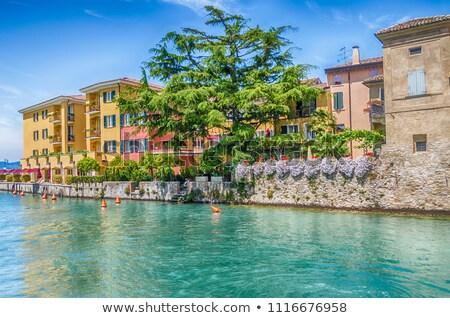 Scaliger castle surrounding wall on Lake Garda. Stock photo © rglinsky77