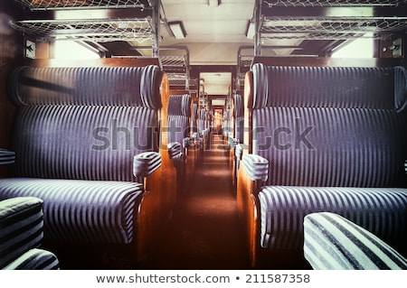 Wooden benches inside a vintage steam train Stock photo © Hofmeester