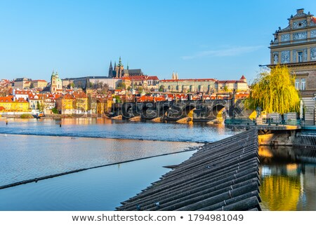 prague czech republic novotny lavka and charles bridge stock photo © hanusst