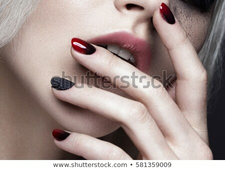 Makeup. Face art portrait. Manicured nails. Fashion female model Stock photo © Victoria_Andreas