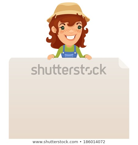 Female Farmer looking at Blank Poster on Top Stock photo © Voysla