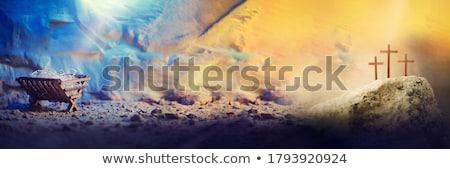 fából · készült · jelenet · izolált · fehér · háttér · Jézus - stock fotó © guycalledsale