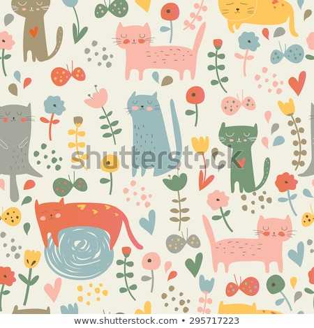 seamless background with cats and flowers stock photo © elmiko