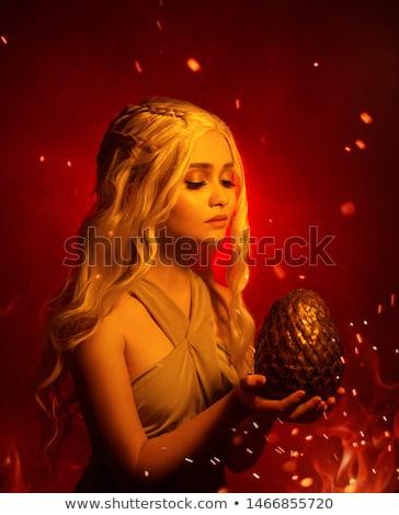 portrait of the smoking blonde woman stock photo © konradbak