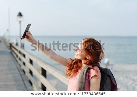 Foto stock: Mulher · beira-mar · mulheres · mar · biquíni · palma