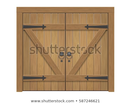old wooden door with metal door knob stock photo © nejron