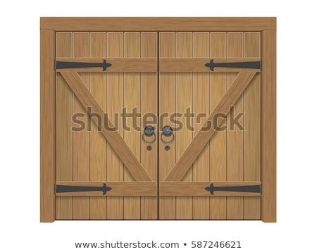 Stock fotó: öreg · fából · készült · ajtó · fém · fogantyú · fa