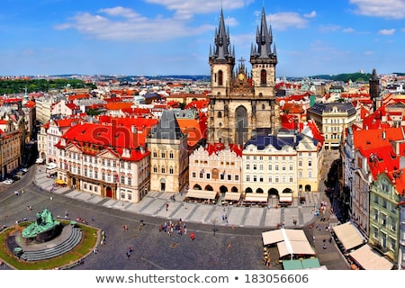 rosso · tetti · Praga · casa · città - foto d'archivio © dermot68