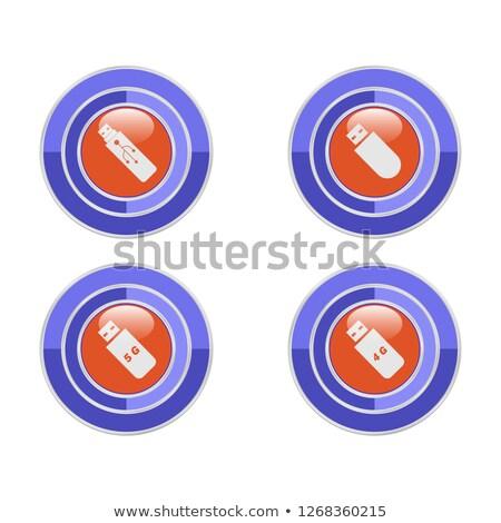 4g felirat körkörös kék vektor gomb Stock fotó © rizwanali3d