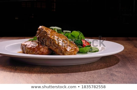 Medaillon Sauce Grüns Licht Abendessen Stock foto © OleksandrO