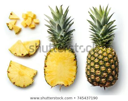 Cut ананаса изолированный белый продовольствие лист Сток-фото © AntonRomanov