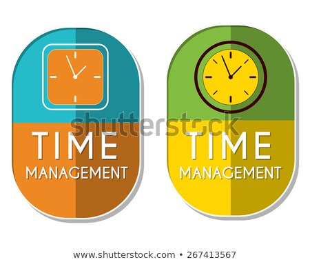 time management with clock signs, two elliptical labels Stock photo © marinini