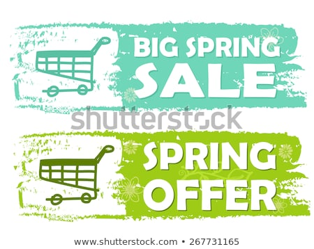 big spring sale and offer with shopping cart signs green drawn stock photo © marinini