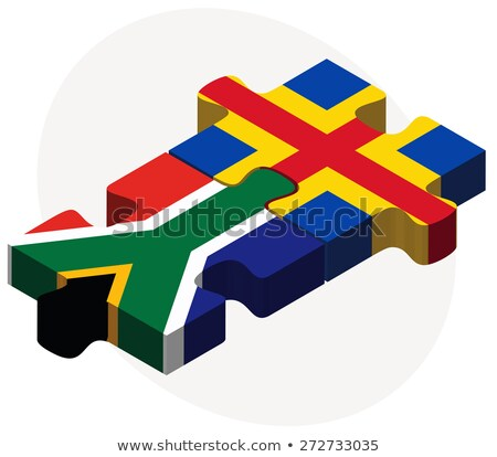 South Africa and Aaland Islands Flags in puzzle Stock photo © Istanbul2009