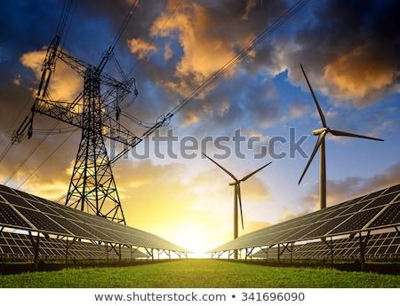 Szélturbinák elektromosság erő égbolt hó zöld Stock fotó © skylight
