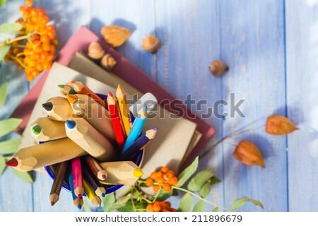 鉛筆 図書 戻る 学校 秋 フルーツ ストックフォト © fotoaloja