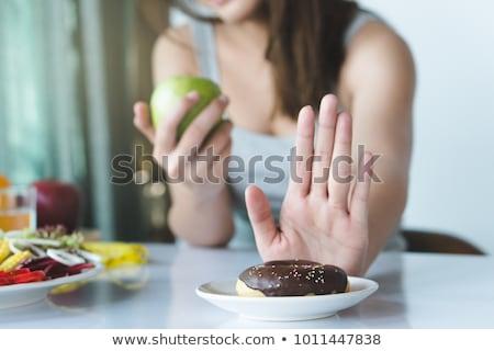dieet · te · zwaar · vrouwen · cake · geïsoleerd · witte - stockfoto © mikko