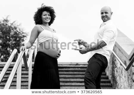 Black&white portrait of a happy family Stock photo © konradbak